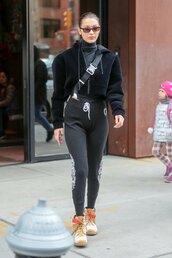 pants,sweatpants,jacket,model off-duty,streetstyle,bella hadid,boots