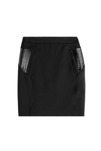 skirt leather wool black