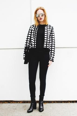 kristina magdalina blogger sunglasses jacket sweater coat shoes