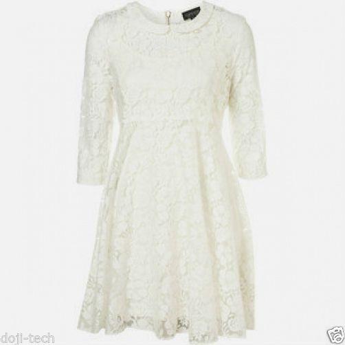 TOPSHOP White Lace Peter Pan Collar Mini Tunic Vtg Shift Tea Party Dress 8 36 S | eBay