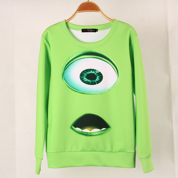 sweater pullover monsters inc monster & co. green eye mouth
