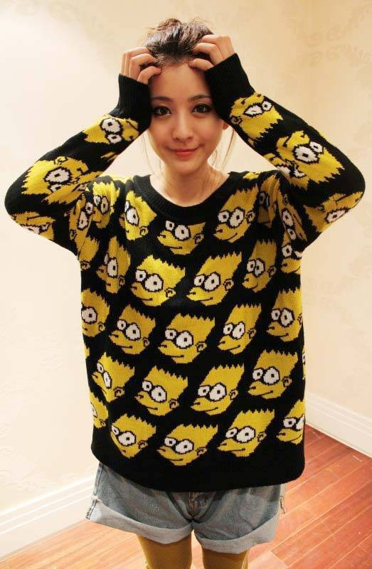 Free Shipping Fashion Bart Simpson Pullover Cartoon Sweater Women's Fashion Vintage Loose Cardigan Sweater Winter Coat ZX0365-in Pullovers from Apparel & Accessories on Aliexpress.com