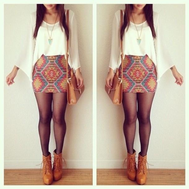 skirt shoes blouse chiffon aztec booties shirt socks