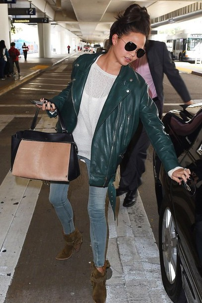jacket jeans chrissy teigen boots shoes