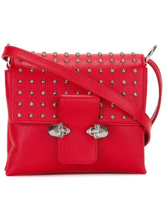 satchel skull women leather red bag