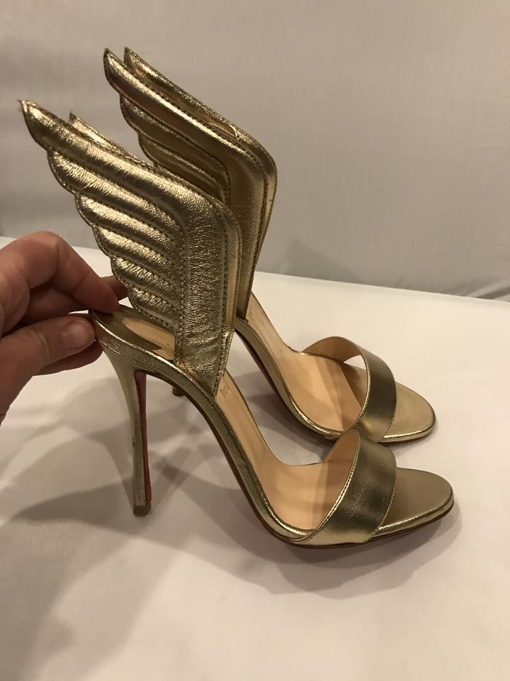 5c6aa598700 Christian Louboutin Samotresse Wing Metallic Leather Heels Size 37 Light  Gold Sandals