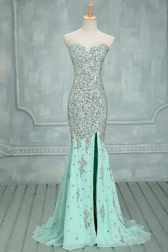 dress blue formal mermaid crystal prom baby blue bling dance sparkle
