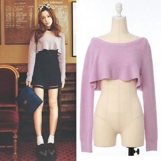 sweater i4out fashion japan clothes celebrities swag look lookbook streetstyle blazer pink pure jumper skirt