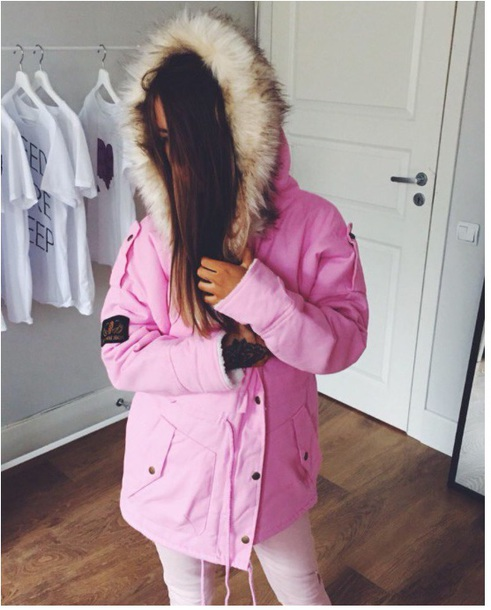 coat girly pink fur fur coat fur hood parka parka