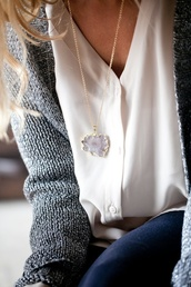 jewels,rock,purple,white,gold,grey,blue jeans,blond hair,blouse,jacket,jewelry,gemstone,good chain,necklace,long necklace,stone,cardigan,speckled cardigan,cute,stone necklaces,grey cardigan
