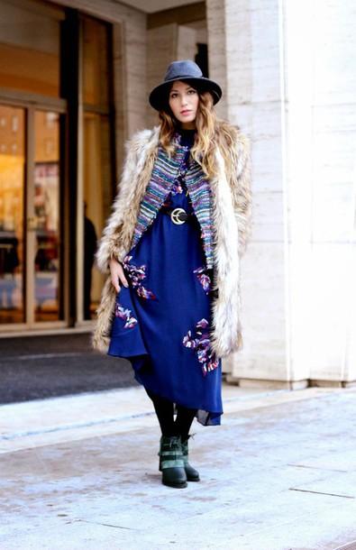 the marcy stop blogger blue dress folk fedora faux fur coat belted dress jacket dress coat belt bag shoes