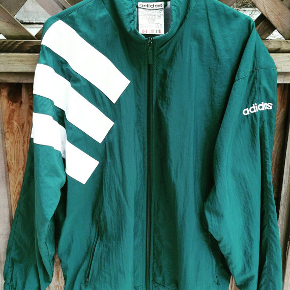 Vintage Adidas Track Jacket Green With 3 Large White Stripes On