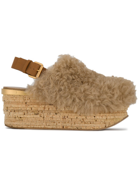 Chloe women mules leather nude shoes