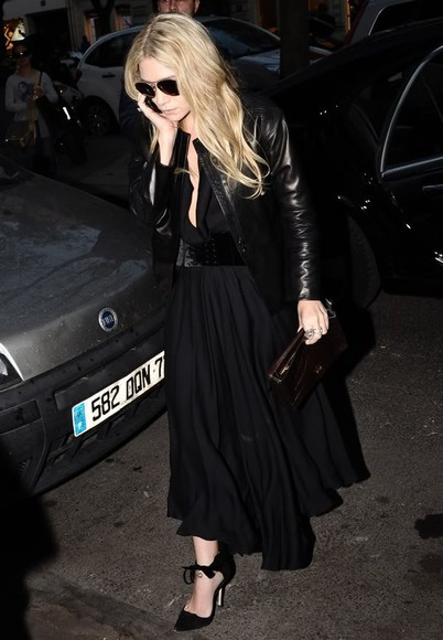 ashley olsen shoes black suede ribbon leather chiffon tie up skirt