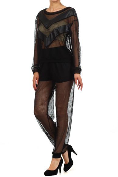 fishnet mesh sheer leggings see through cuff pants jogger