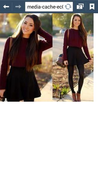 black skater skirt blouse burgundy sweater maroon/burgundy