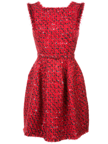 oscar de la renta dress fringed dress women cotton wool red