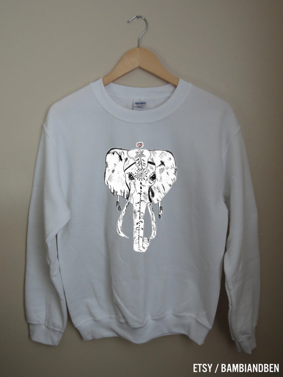 Tribal elephant daydream white graphic crewneck sweatshirt