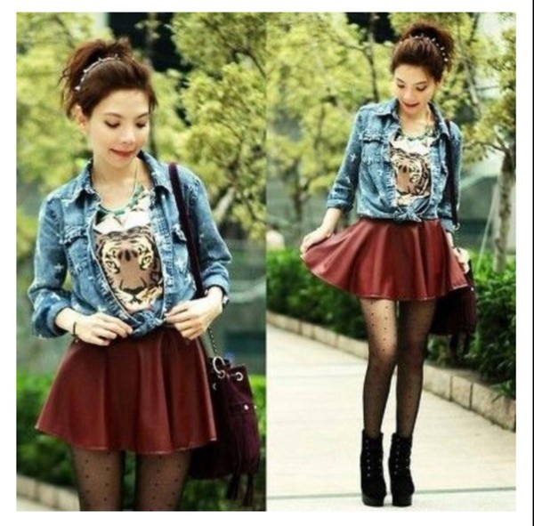 t-shirt skirt red denim jacket tiger skirt