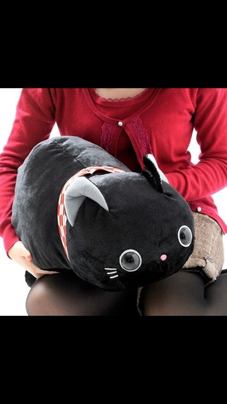 phone cover black cats pillow plushie cute stuffed animal