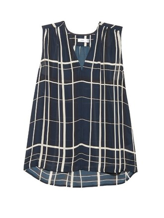 top sleeveless print silk navy white