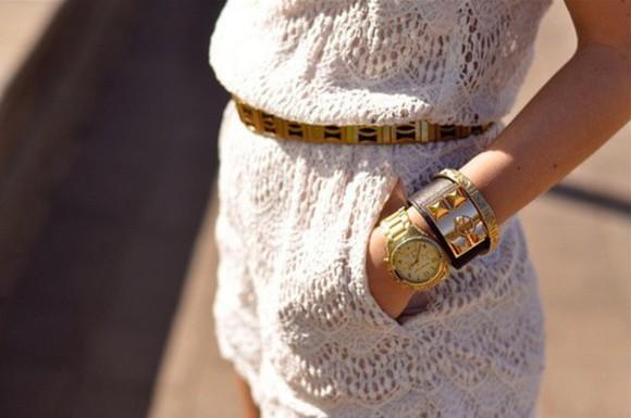 white lace jumpsuit Belt jewels