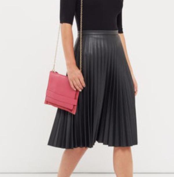 skirt leather skirt midi skirt pleated skirt