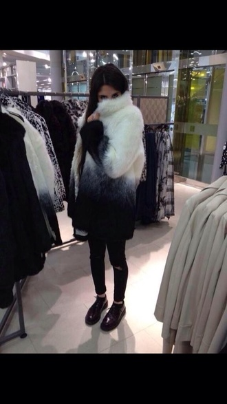 fur coat fur jacket fur black white grey & black jacket faux fur jacket faux fur faux fur coat coat grey