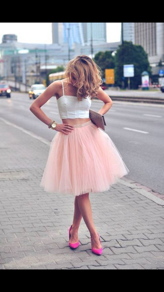 skirt baby pink pink pink skirt tulle skirt tutu crop tops white hot pink high heels pink high heels carrie bradshaw sex and the city tank top shoes dreamy