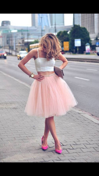 skirt shoes tutu tutu skirt baby pink pink pink skirt crop tops white hot pink high heels pink high heels carrie bradshaw sex and the city tank top