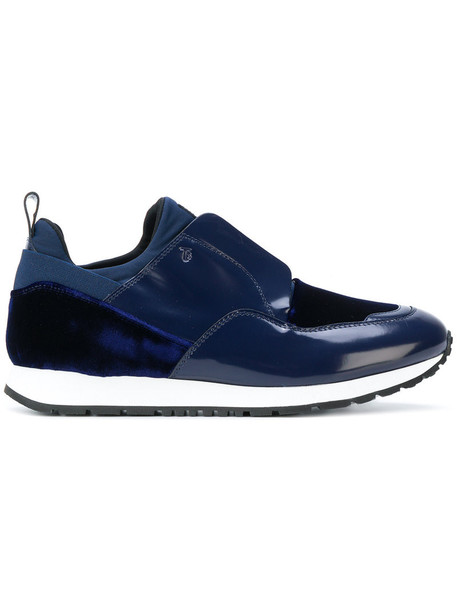 TOD'S women sneakers leather blue shoes