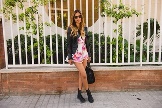 jumpsuit fashion chic classe sunglasses girly grunge summer flowered shorts rock boho dress
