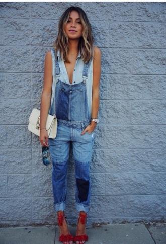 jumpsuit blue jeans