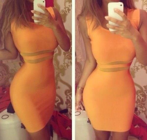dress orange dress cute