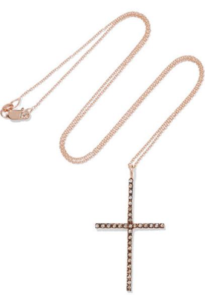 Ileana Makri rose gold rose necklace diamond necklace gold jewels
