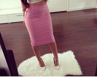 baby pink midi skirt skirt