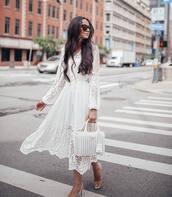 dress,white dress,midi dress,long sleeve dress,mules,handbag,straw bag,sunglasses
