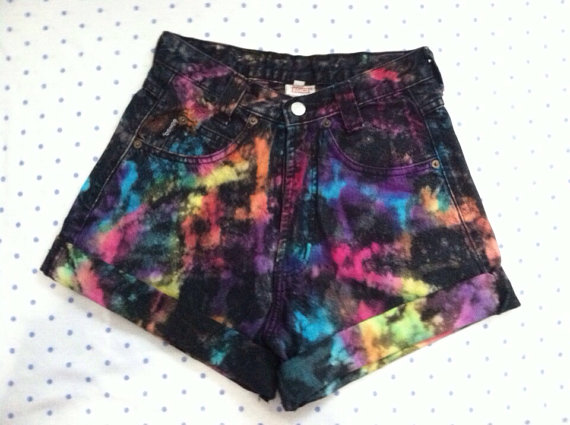 bright splatter tie dye high waist shorts by SewOeno on Etsy