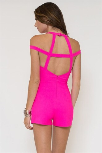 romper jumper jumpsuit shorts caged open back low back sleeveless straps sweetheart sexy trendyish
