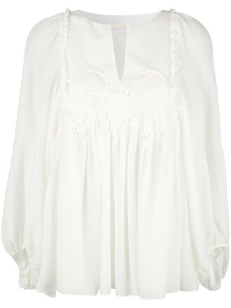 blouse women white cotton silk top