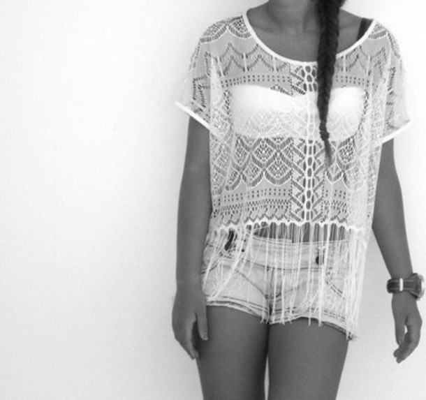 92f548744cf shirt white indian aztec hippie tank top crop tops girly girl summer  fringed top tumblr tumblr