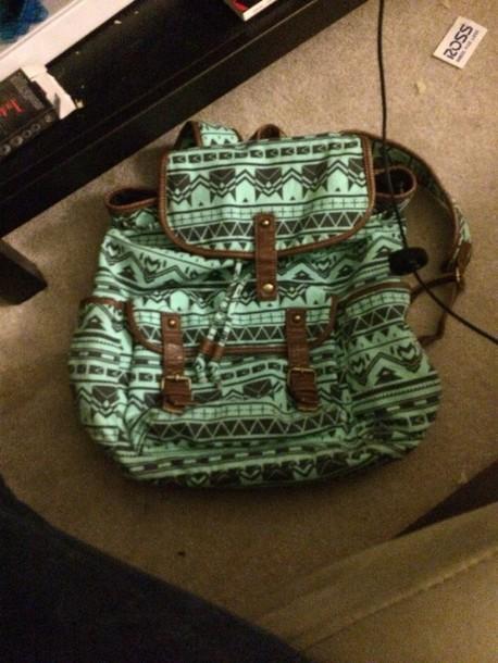 bag mint black aztec backpack