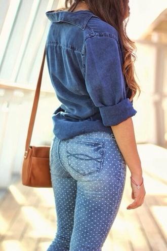 pants leggings jeans skinny pants polka dots