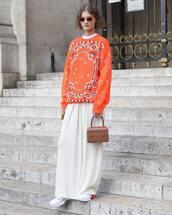bag,handbag,mini bag,maxi skirt,white sneakers,printed blouse,retro sunglasses