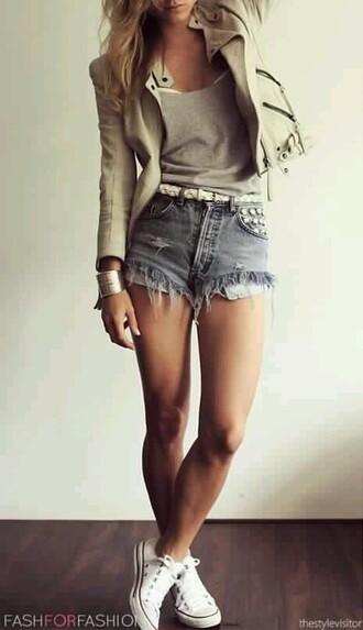 jacket cute outfits high waisted shorts