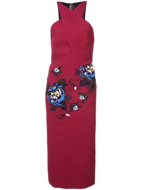 Roland Mouret dress embroidered dress embroidered women spandex floral red