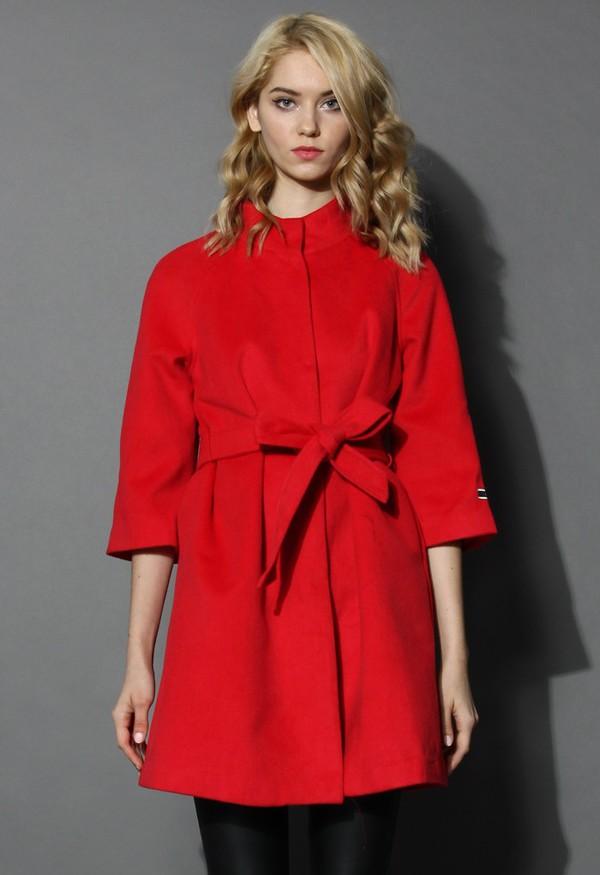 chicwish mid-sleeves fashion coat coat