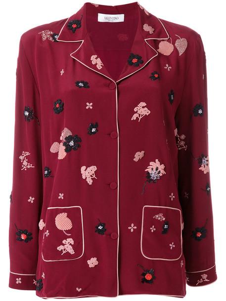 Valentino top metallic women floral silk red