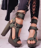 shoes,block,heels,camouflage,green,black