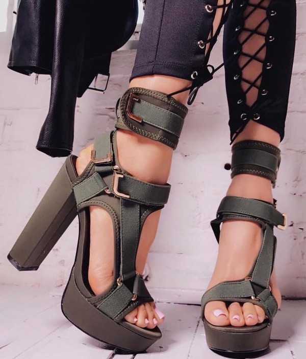b2f55df9680 Band Mate Cut-Out Caged Platforms NUDE OLIVE RED WINE BLACK ORANGE ...